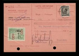 COB 390 (70c) - Obl. ANTWERPEN - S/Carte-Récépissé Du ?/X/193? + 1 Timbre Fiscal De 0.30 Fr. - Documents