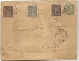 SAGE N°101+103+ 97 COIN ARRONDI ENTIER ENVELOPPE 5C Recommandé CHATEAU THIERRY 1895 POUR DOUBS - Storia Postale