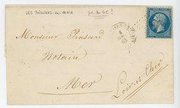 EURE LST 1863 LES THILLIERS EN VEXIN PCGC 3937 INDICE 17 COTE 240 EUROS TIMBRE DFT - Storia Postale