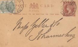 Natal: 1891: Post Card To Johannesburg - Afrique Du Sud (1961-...)