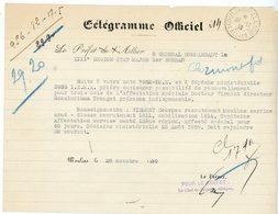 ALLIER TELEGRAMME OFFICIEL 1939 MOULINS / ECRITURE GOTHIQUE PREFET ALLIER à GENERAL CDT LA XIII° REGION - Storia Postale