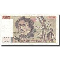 France, 100 Francs, Delacroix, 1991, 1991, TB+, Fayette:69bis.3c1, KM:154e - 1962-1997 ''Francs''