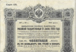 EMPRUNT DE   L' ETAT  RUSSE  5%  1906 - Chemin De Fer & Tramway