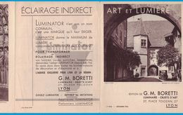 DEPLIANT 3 VOLETS DECEMBRE 1936 G. M . BORETTI LUMINAIRE OBJETS D'ART 2 PLACE TOLOZAN LYON ET LUMIERE / IMP BRAUN & Cie - Publicités