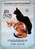 AFFICHE ANCIENNE ORIGINALE EXPOSITION LES CHATS STEINLEN Galerie Dubois Paris 8è 1981 - Très Décorative - Affiches