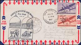 Erstflug USA-Indien Brief NEW YORK 5.1.1947 Nach BOMBAY 9.1.49 - Posta Aerea