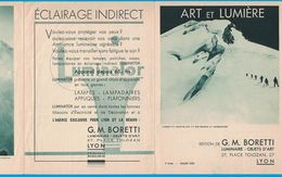 DEPLIANT 3 VOLETS JUILLET 1937 G. M . BORETTI LUMINAIRE OBJETS D'ART 2 PLACE TOLOZAN LYON ET LUMIERE / IMP BRAUN & Cie - Publicités