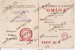 Tarifs Machines à Laver Omega, 1955, Quincaillerie Cloez à Landrecies - Autres