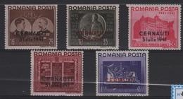 GUE 9 - ROUMANIE N° 656A/E Neufs* Surcharge CERNAUTI 1941 - 1918-1948 Ferdinand, Carol II. & Mihai I.