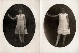 2 Photos Originales En Médaillon - Portrait De Gertrüde & X , 2 Adolescentes Au Jardin Vers 1910/20 - Personnes Anonymes