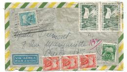 TAXE 100FR+10X3+2FR PARIS 1956 LETTRE AVION BRASIL - Lettres Taxées