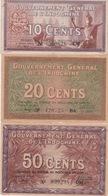 INDOCINA - 1939 - GOVERNO GENERALE DELL'INDOCINA - SERIE DI 3 BANCONOTE - - Indocina