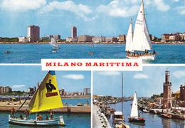 MILANO MARITTIMA - CERVIA - RAVENNA - 3 VEDUTE - BARCA A VELA CON PUBBLICITA' FUMETTO DIABOLIK - FARO / LIGHTHOUSE -1971 - Ravenna