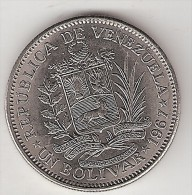 Venezuela 1 Bolivar  1967  Km 42  Xf+/ms60 - Venezuela