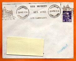 SAUMUR   SES VINS SON CARROUSEL  1953  Lettre Entière N° MN 22 - Postmark Collection (Covers)