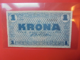 ISLANDE 1 KRONA 1941 BLEU CIRCULER (B.10) - IJsland
