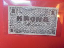 ISLANDE 1 KRONA 1941 BRUN CIRCULER (B.10) - IJsland