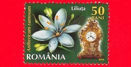 ROMANIA - Usato - 2013 - Fiori - Giglio Di Bernardo (Anthericum Ramosum L.) - Orologio 3 P.m - 50 - 1948-.... Repubbliche