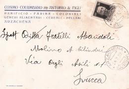 """ARZACHENA - OLBIA TEMPIO - CARTOLINA COMMERCIALE PUBBLICITARIA """"COSIMO COLUMBANO & FIGLI"""" PANIFICIO/FARINA/CEREALI- 1939 - Olbia"""
