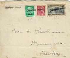 Affranchissement Mixte : TP N° 10d'Alsace Et N° 416 Et 424 De La Poste Française  Sur Devant D'enveloppe De Ittenhelm - Marcophilie (Lettres)