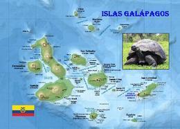 Galapagos Islands Map UNESCO New Postcard Galapagosinseln Landkarte AK - Ecuador
