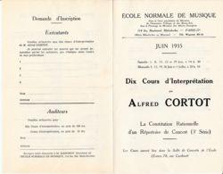 FRANCE - 1935 - Orléans - Programme Des Cours Dispensés Par L'Ecole Normale De Musique - Vecchi Documenti