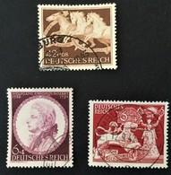 """1942 9.Rennen Um ,,Das Braune Band""""in München-Riem Mi.815, Mozart Mi.810, Goldschmiedekunst Mi.817 - Germania"""