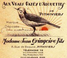 FRANCE - 1957 - Facture - Aux Vrais Pâtés D'alouettes De Pithiviers - Jean Gringoire - Alimentare