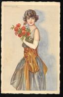 Cpa...illustrateur Italien...Bompard .S...art Nouveau...femme élégante Avec Bouquet De Fleurs - Bompard, S.
