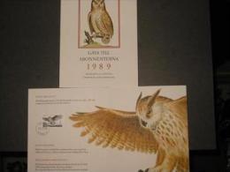 EAGLE OWL -  BIRDS - SWEDEN SUEDE SCHWEDEN  1989 MI 1565 STAMP FOLDER Hibou Hiboux Eule Eulen Owls - Eulenvögel