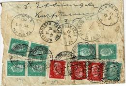 TP N° 402 Et 405 En Multiples Sur Enveloppe En Exprès De Berlin Pour Paris - Briefe U. Dokumente