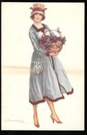 Cpa...illustrateur Italien...Bompard .S...art Nouveau...femme élégante Avec Un Panier De Grappes De Raisin - Bompard, S.