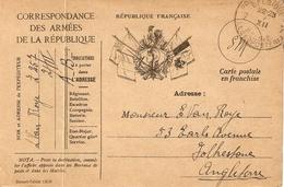 France - Carte Postale - Correspondance Des Armées - Guerre 14-18 - Franchise Militaire (timbres)