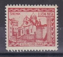 Croatia Yugoslavia 1930's Sibenik Church Cathedral Student Charity Tax Surchage Label Cinderella Stamp - Croazia