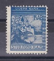 Croatia Yugoslavia 1930's Rab Student Charity Tax Surchage Label Cinderella Stamp - Croatia