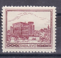Bosnia Yugoslavia 1930's Sarajevo Bridge Croatia Student Charity Tax Surchage Label Cinderella Stamp - Croatia