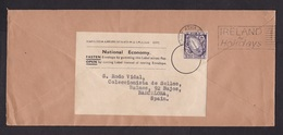 Ireland: Official Cover To Spain, 1957, 1 Stamp, National Economy Label To Be Re-used, Cancel Tourism (traces Of Use) - 1949-... Republic Of Ireland