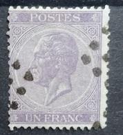 BELGIE   1865   Nr. 21 B    Tand. 14     Gestempeld    CW 125,00 - 1865-1866 Profile Left