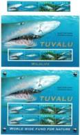 Tuvalu 2000 Sand Tiger Shark Set Of 4 + 2 Minisheets MNH Inc. WWF - Tuvalu