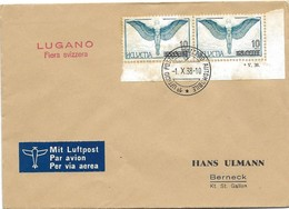 "123 - 49 - Enveloppe Avec Oblit Spéciale ""Lugano Fiera Svizzera"" 1938 - Marcophilie"