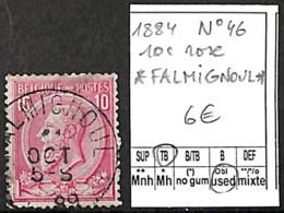 [843489]TB//O/Used-Belgique 1884 - N° 46, Relais (étoiles) *FALMIGNOUL*, 10 C Rose , Familles Royales, Rois - Marcofilia
