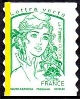France Marianne De Ciappa Et Kawena Autoadhésif N° 1215,a ** Lettre Verte, Phosphore à Gauche - 2013-... Marianne De Ciappa-Kawena