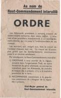 WW2 - Au Nom Du Haut-Commandement Interallié. Ordre. Tract, Flyer, Broschüre - Documentos Históricos
