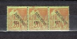 REUNION   N° 30 BANDE DE TROIS TIMBRES   NEUFS AVEC CHARNIERES COTE  75.00€   TYPE ALPHEE DUBOIS  VOIR DESCRIPTION - Isola Di Rèunion (1852-1975)