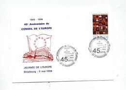 Carte Cachet  Strasbourg 45 Ans Conseil Europe - Poststempel (Briefe)