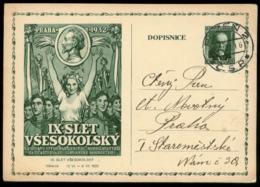 S7983 - CSSR GS Postkarte: Gebraucht Pilsen - Prag 1932 , Bedarfserhaltung, Gefaltet. - Postal Stationery
