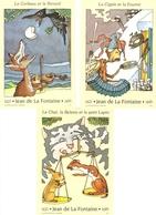 France 1995 - La Fontaine - 3 Cartes MNH - Le Corbeau Et Le Renard - La Cigale Et La Fourmi - Le Chat, La Belette Et Le - Entiers Postaux