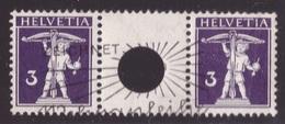 Svizzera, 3 Centesimi Violetto Scuro Guglielmo Tell Del 1910 Coppia Usata Con Interspazio E Foro Grande   -CK16 - Gebraucht