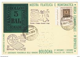 BOLOGNA:  CARTOLINA  UFFICIALE  CENTENARIO  F.LLO  ROMAGNE  -  27-11/01-12  1959  -  FG - Borse E Saloni Del Collezionismo