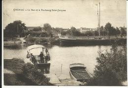 """* COGNAC , Le Bac Et Le Faubourg Saint Jacques , 1916 , CPA ANIMEE + Cachet Au Dos """" INFIRMERIE DU 33 REG. D'INFrie """" - Cognac"""